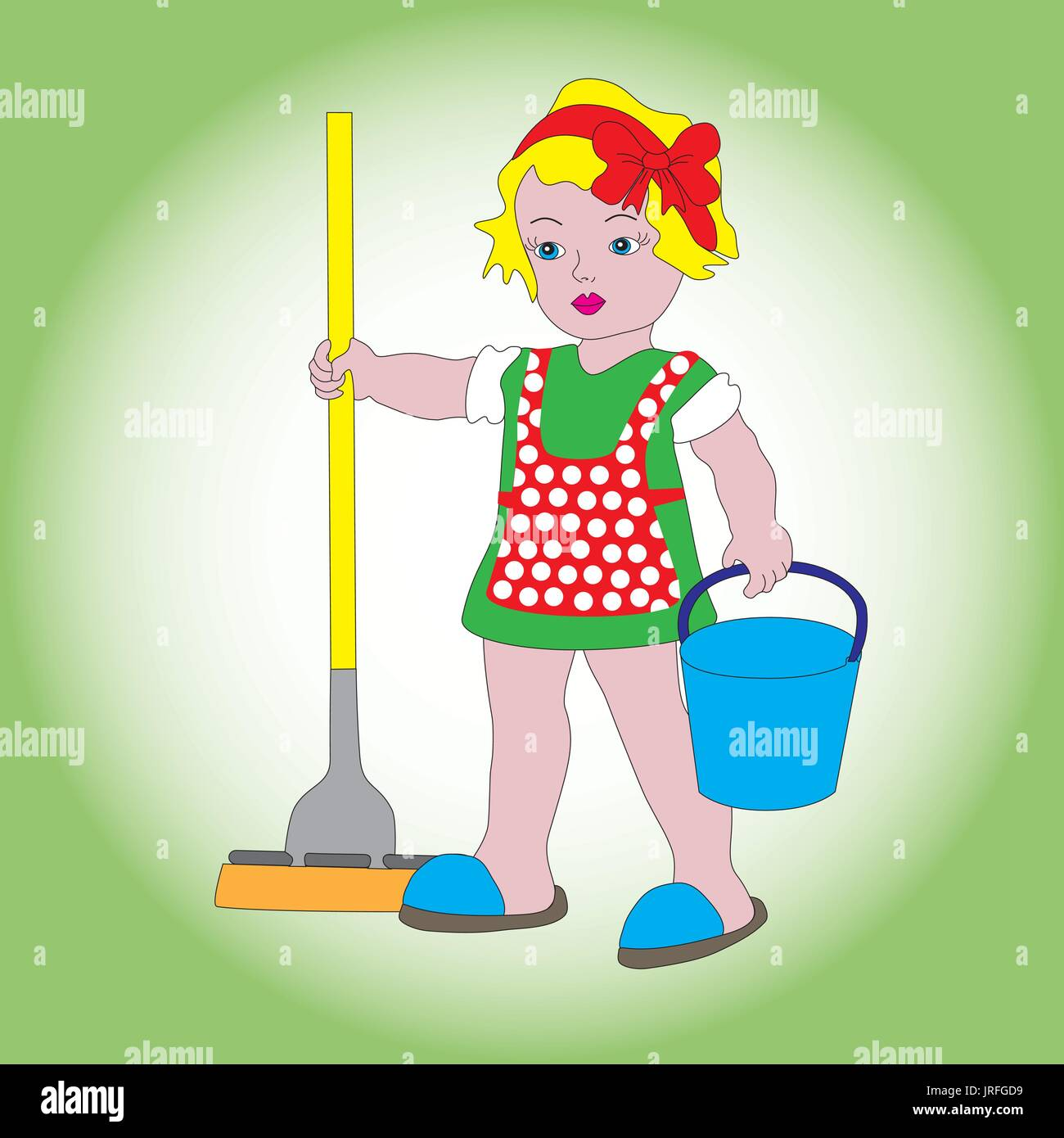 A little sweet girl with a bucket and a mop for cleaning. A symbol of cleanliness, order and cleaning. - Stock Vector