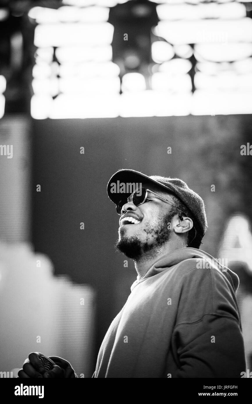 Anderson Paak & The Free Nationals performing at a music festival in British Columbia Canada in black and white. - Stock Image