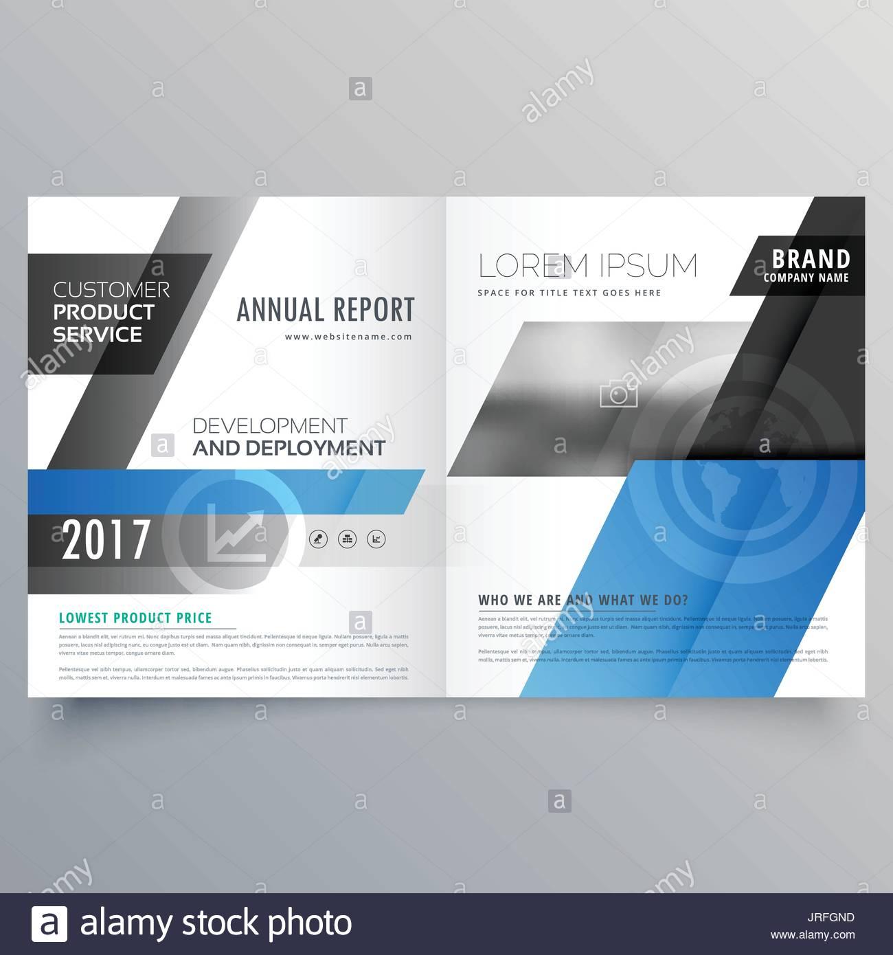 blue business bifold brochure design template Stock Vector