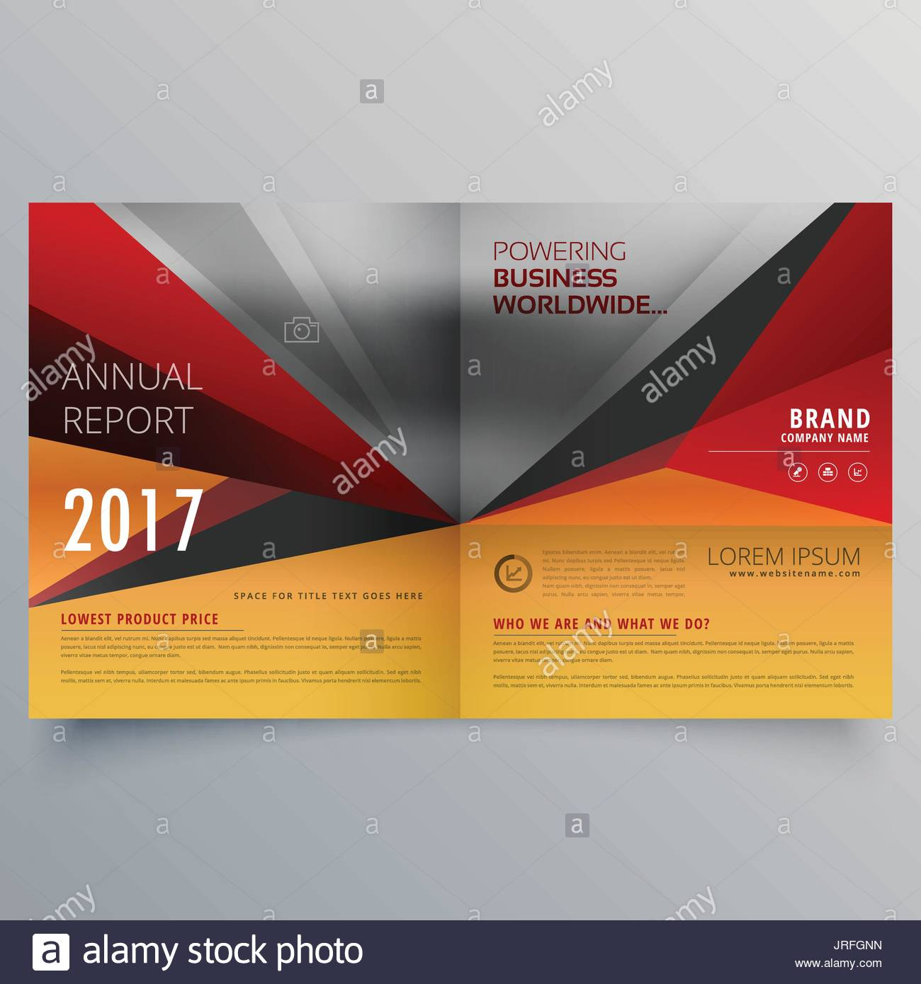 business bifold brochure design with warm colors stock vector art