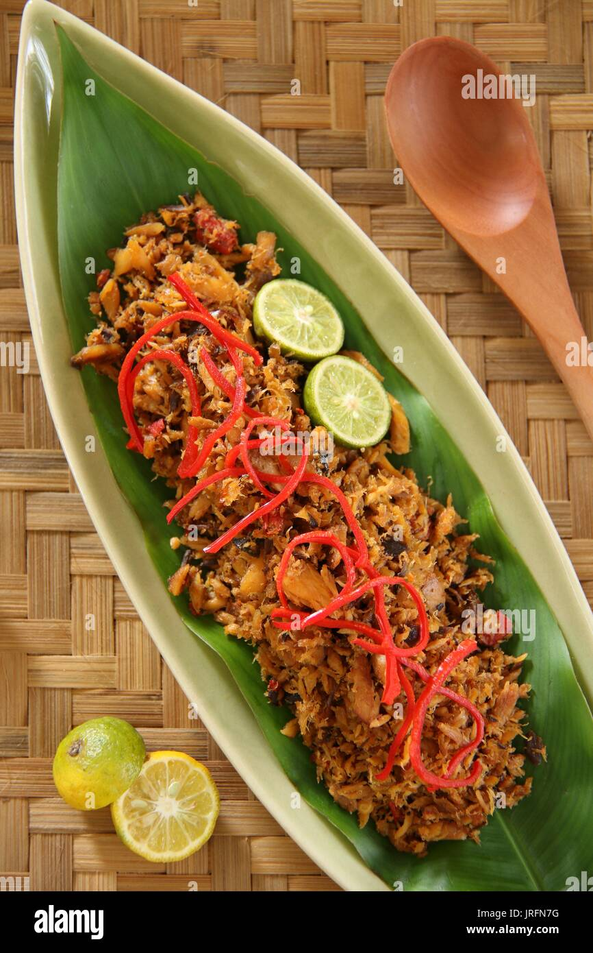 Pampis Ikan. Manadonese shredded fish dish cooked with traditional local spices. - Stock Image