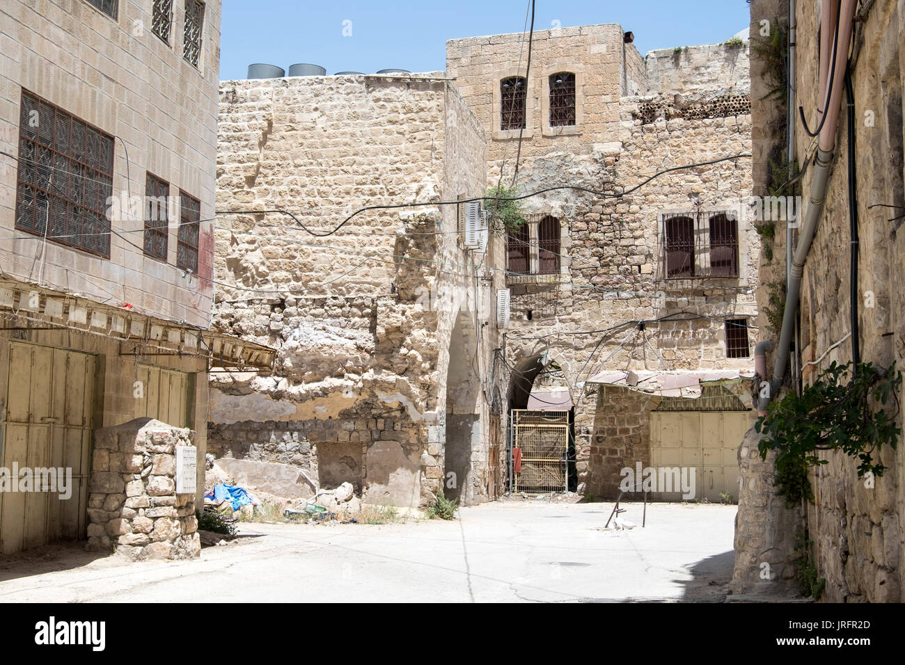 Deserted Shuhada Street, Hebron,West Bank, where Palestinians are banned due to the forceful occupation by 850 Israeli settlers - Stock Image