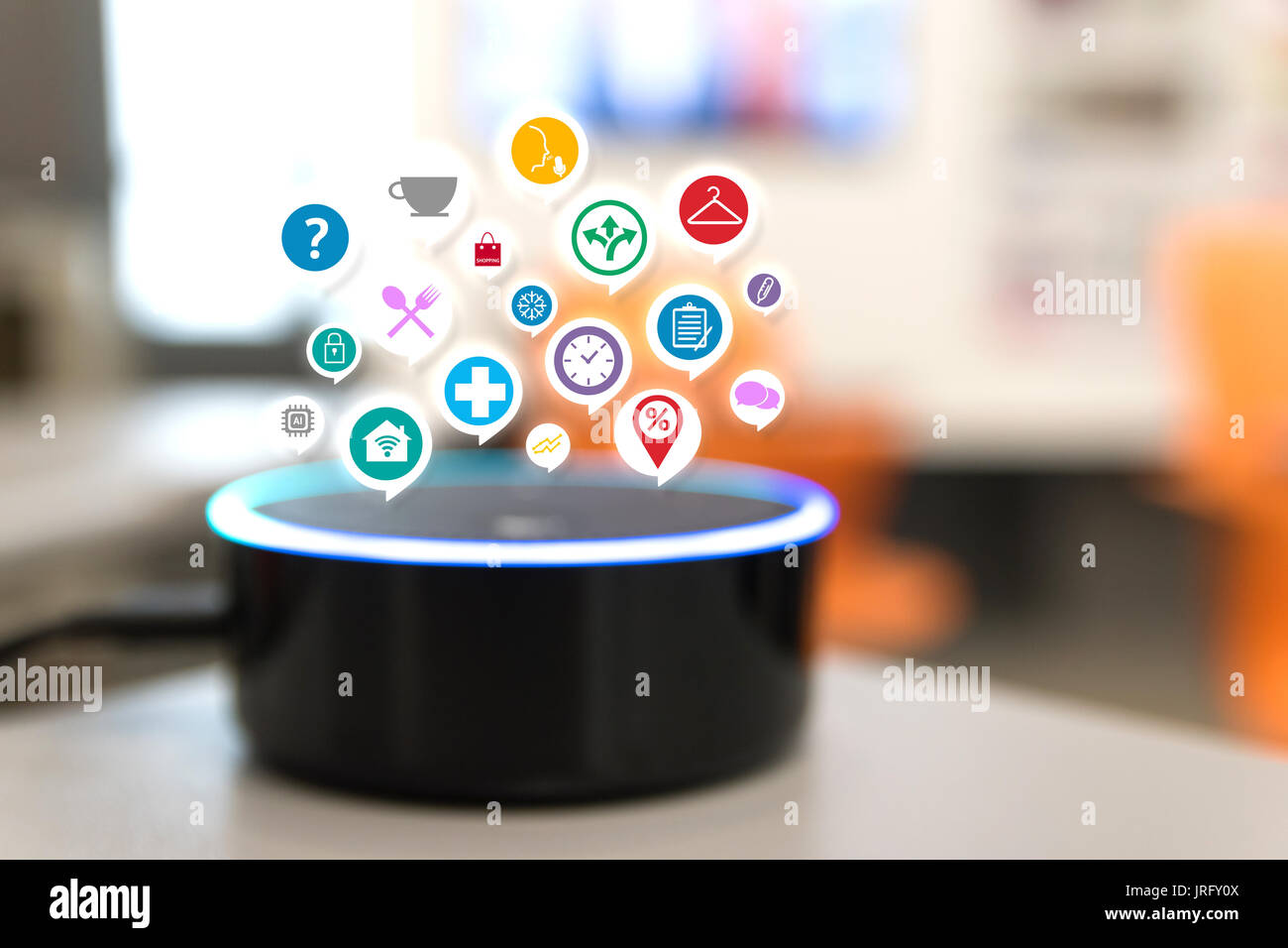 Home advisor , voice recognition , artificial intelligence device and internet of things concept. Stock Photo
