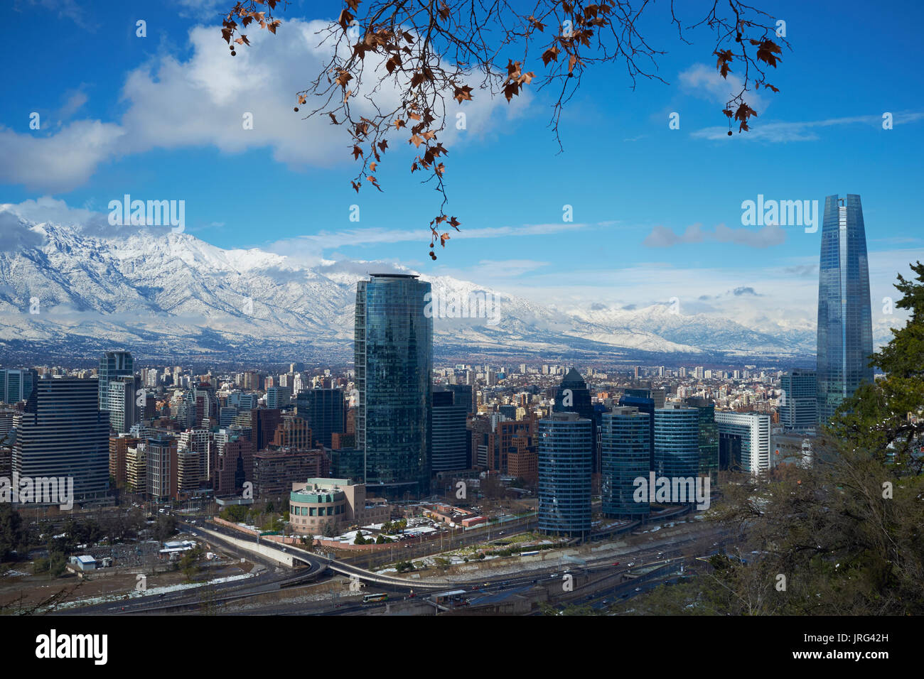 City Of Santiago Capital Of Chile In Winter After A Fresh Fall Of Stock Photo Alamy