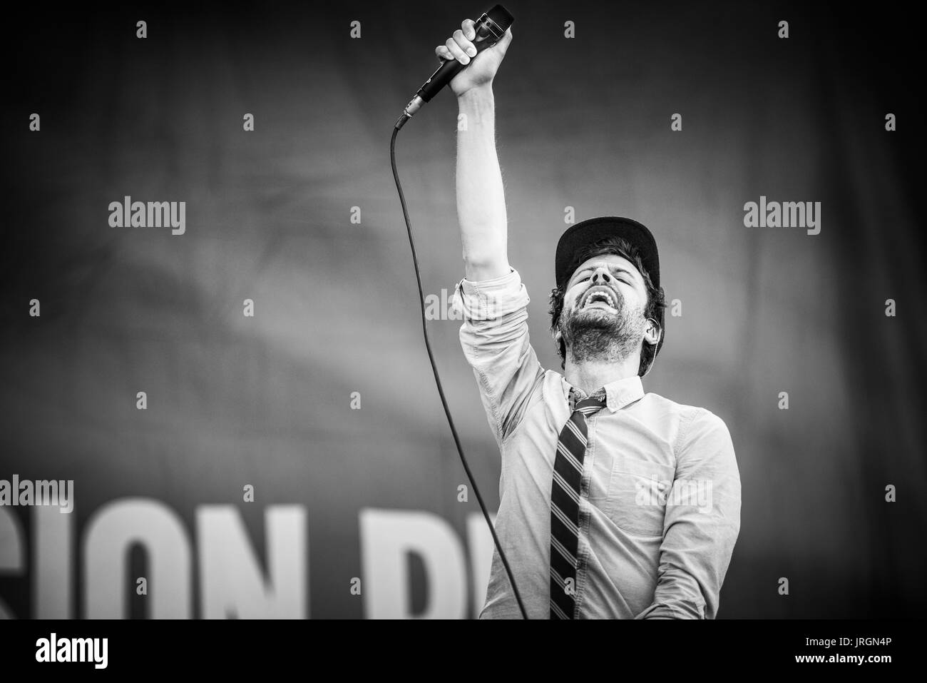 Passion Pit performing at a music festival in British Columbia Canada in black and white. - Stock Image