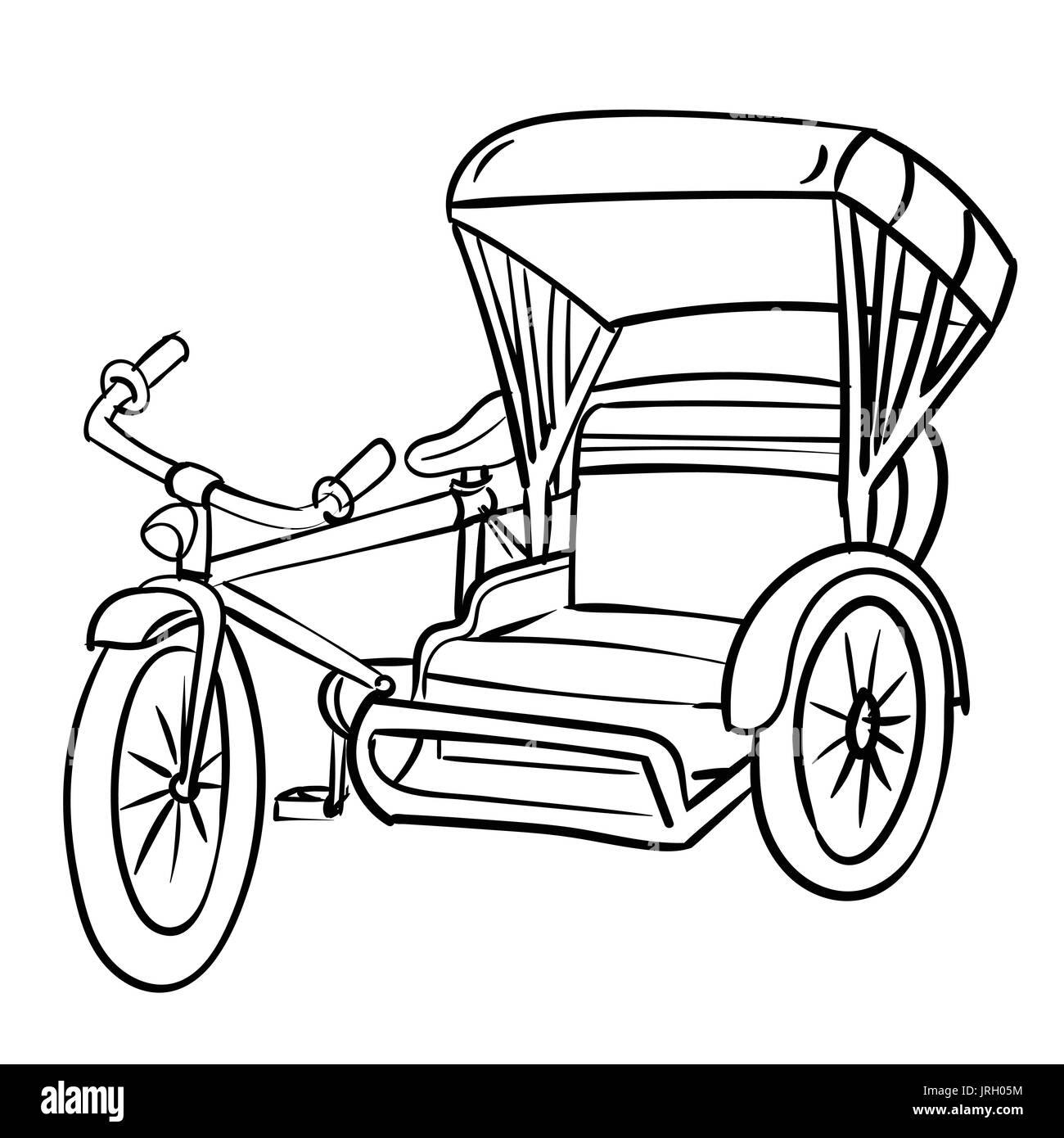 Hand Drawn Sketch Of Tricycle Black And White Simple Line Vector Stock Vector Image Art Alamy