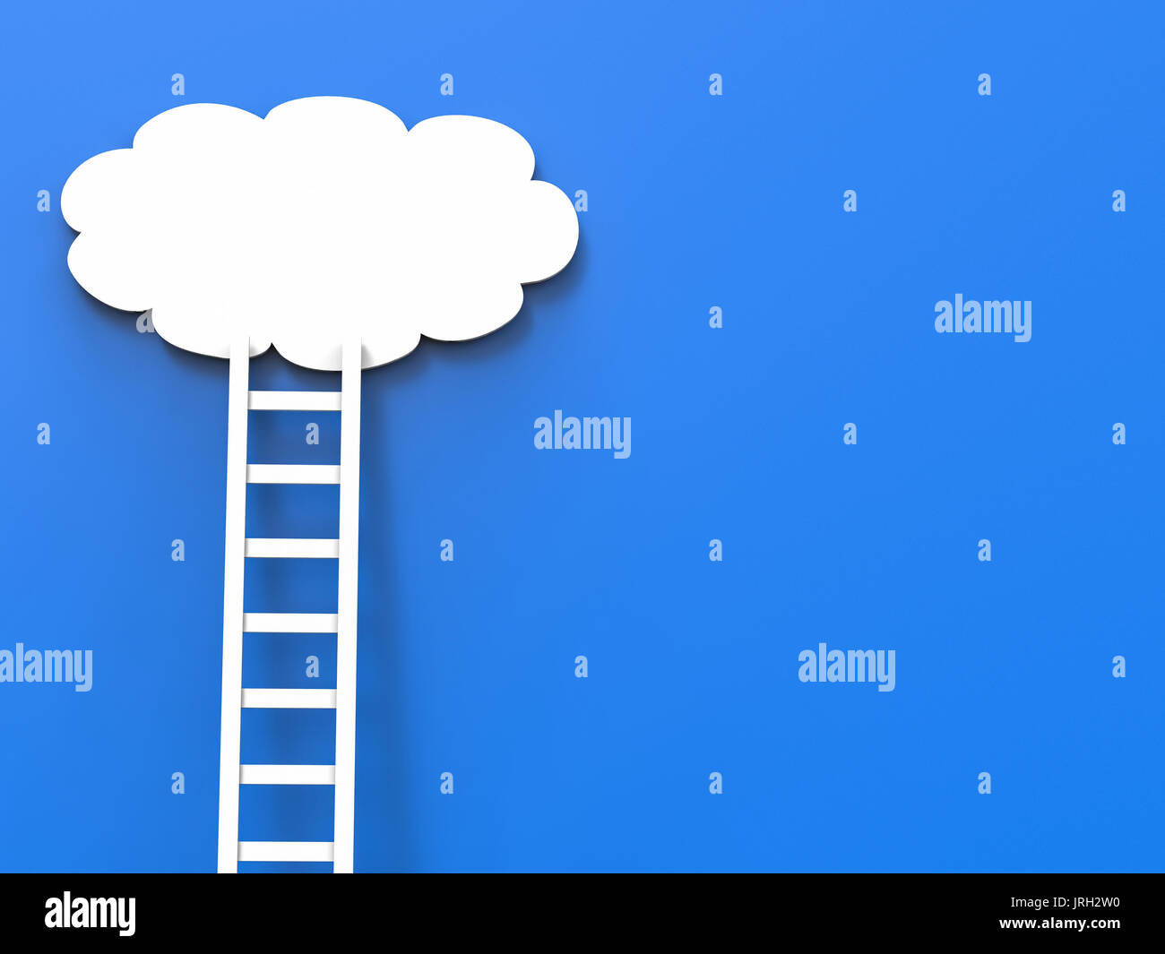 ladder of success concept with white clouds on blue background - Stock Image
