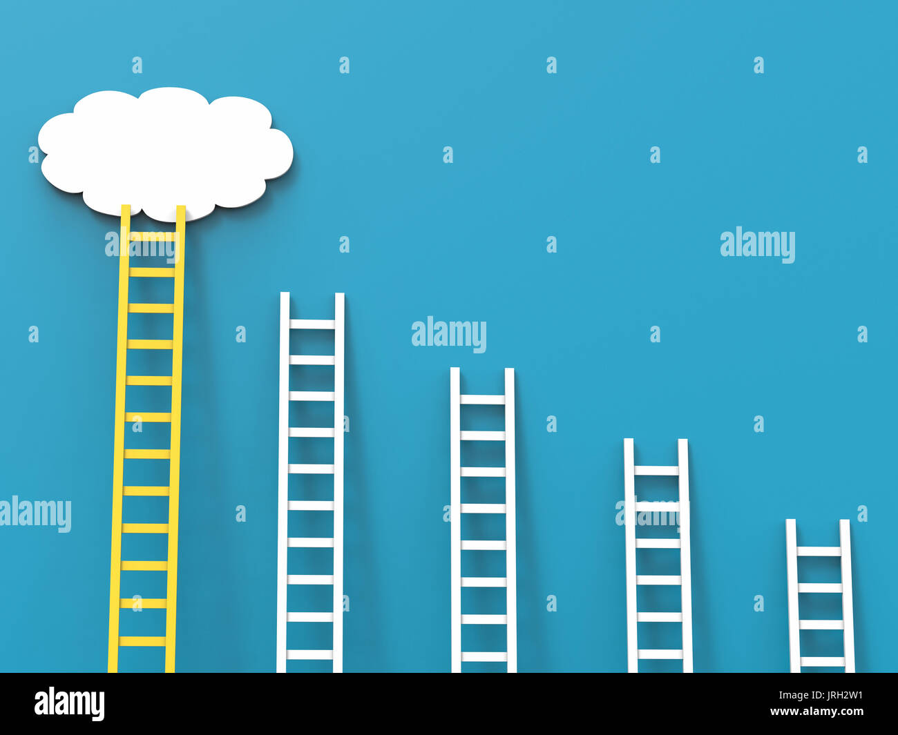 ladder of success concept with white clouds on blue background Stock Photo