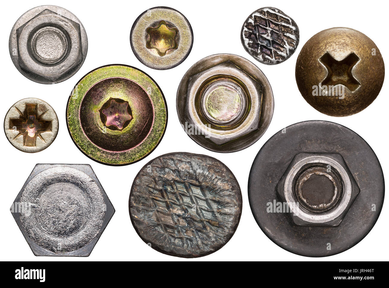 Screw and nail heads, nuts, rivets isolated on white. - Stock Image