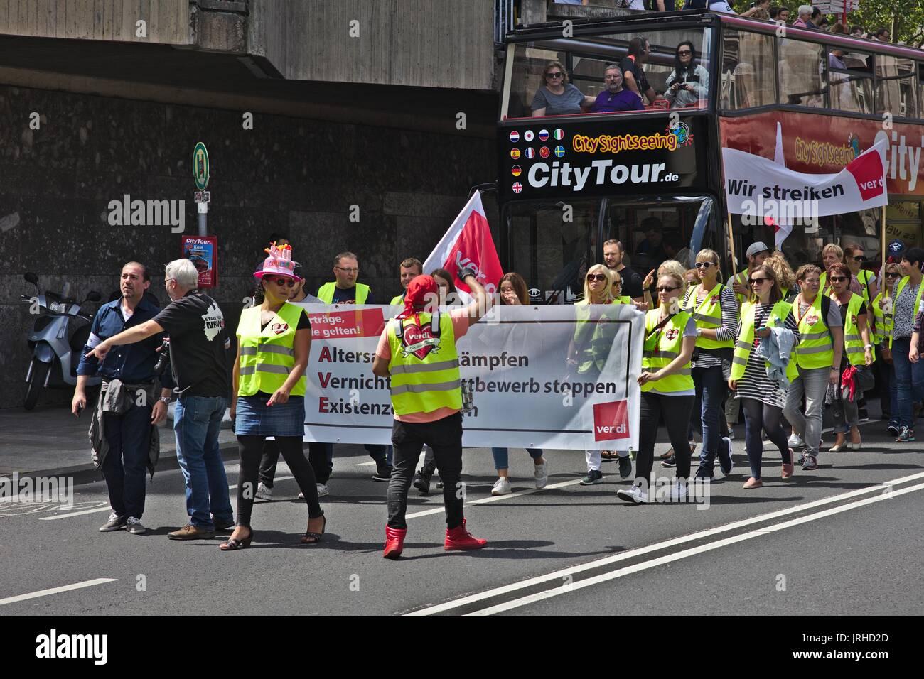 German trade union Ver.di on strike - Stock Image