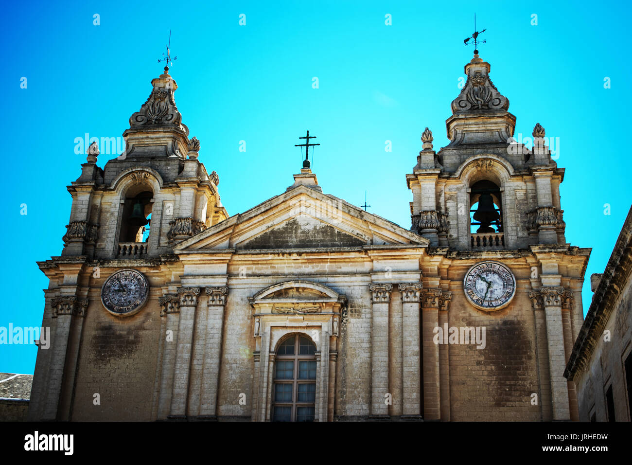 St. Paul's Cathedral is a Roman Catholic cathedral in Mdina, Malta, dedicated to St. Paul the Apostle. - Stock Image