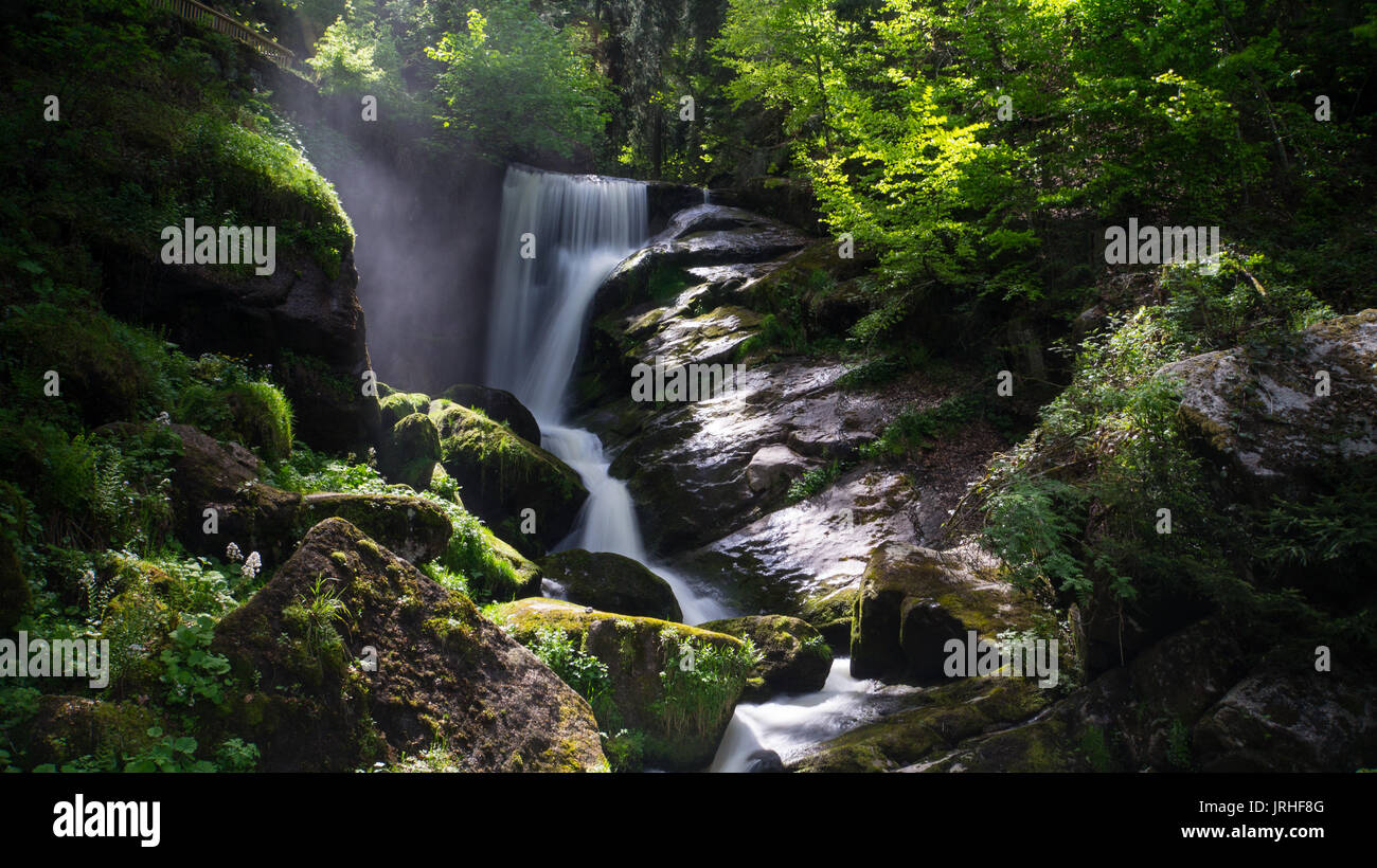 Black Forest - Triberg Waterfall with vapour and mystic mood - Stock Image