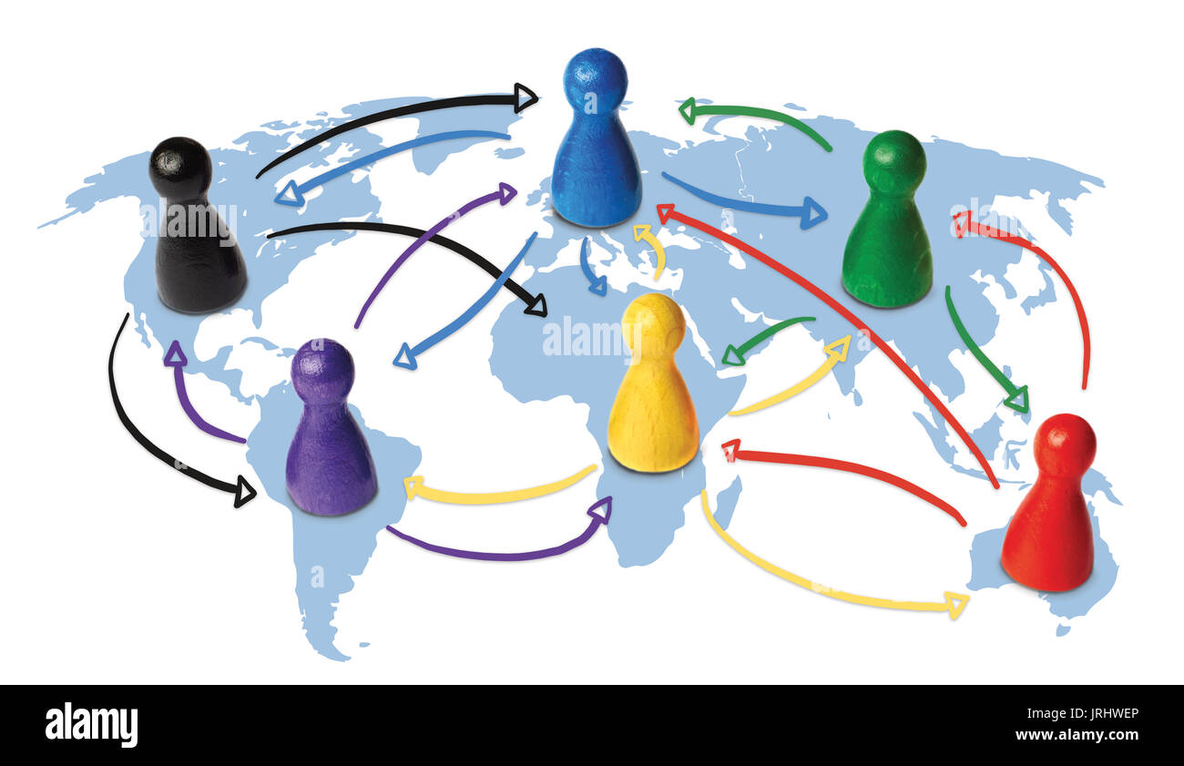 Concept for globalization, global networking, travel or global connection or transportation. Colorful figures with connecting arrows. - Stock Image