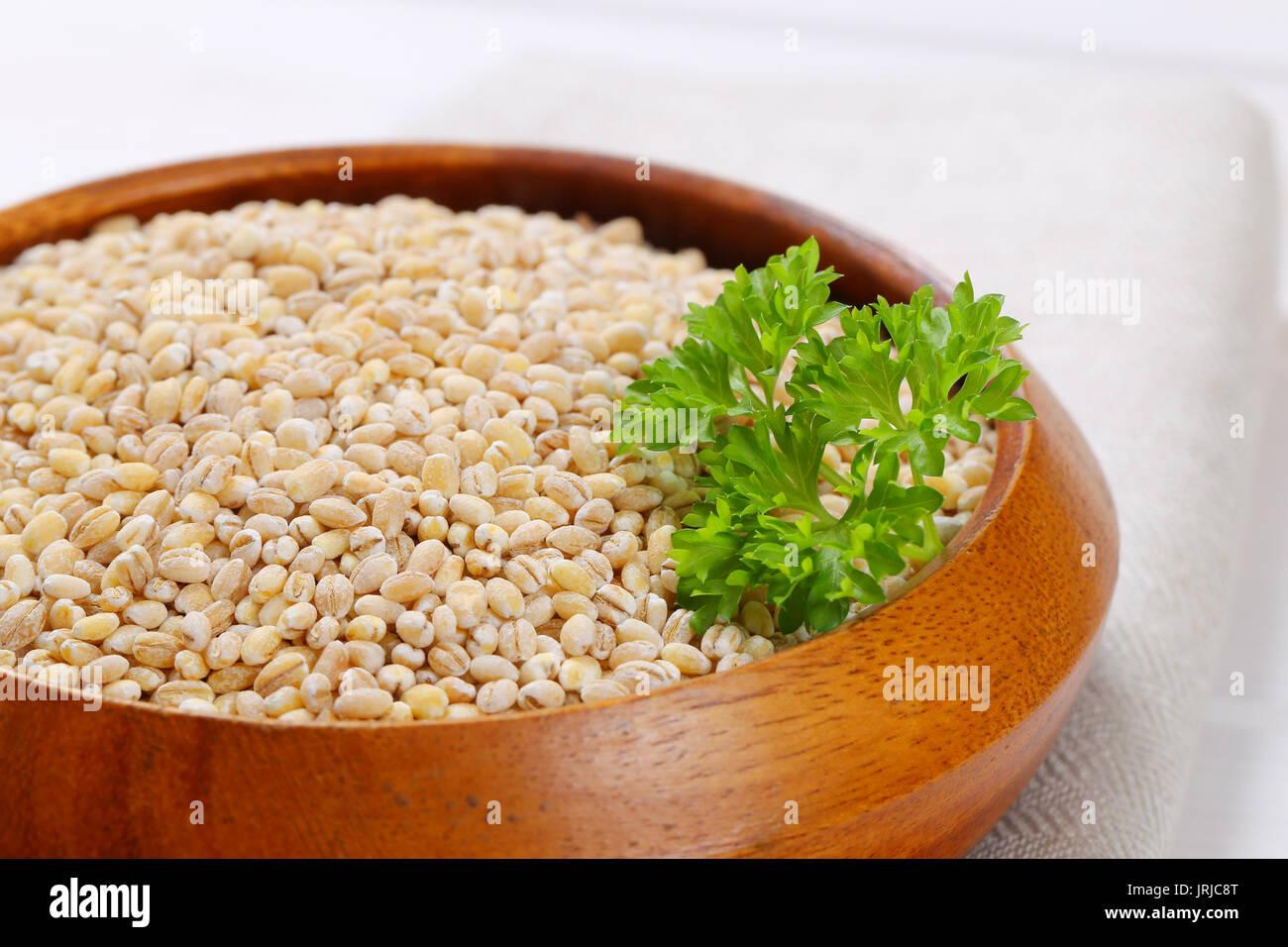 bowl of pearl barley - close up - Stock Image
