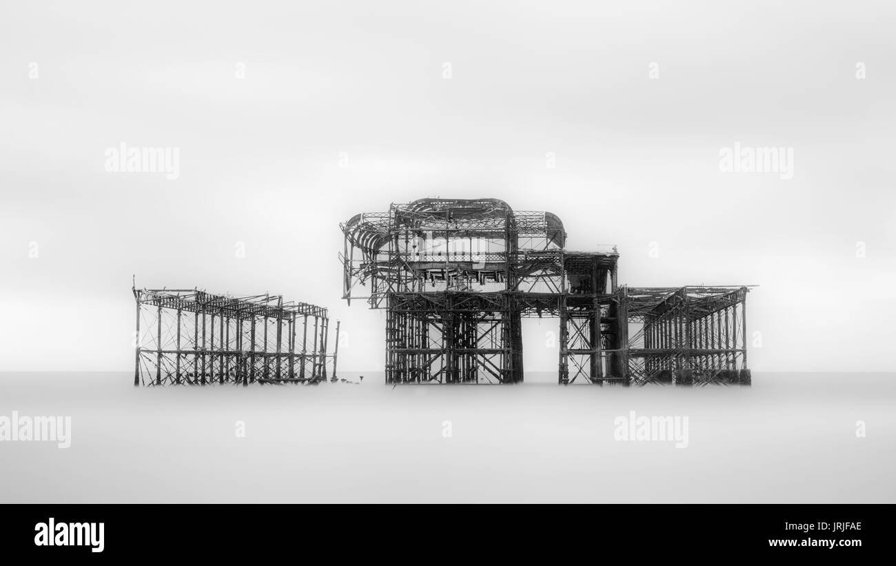 Long Exposure of the remains of the West Pier, Brighton, East Sussex, England - Stock Image