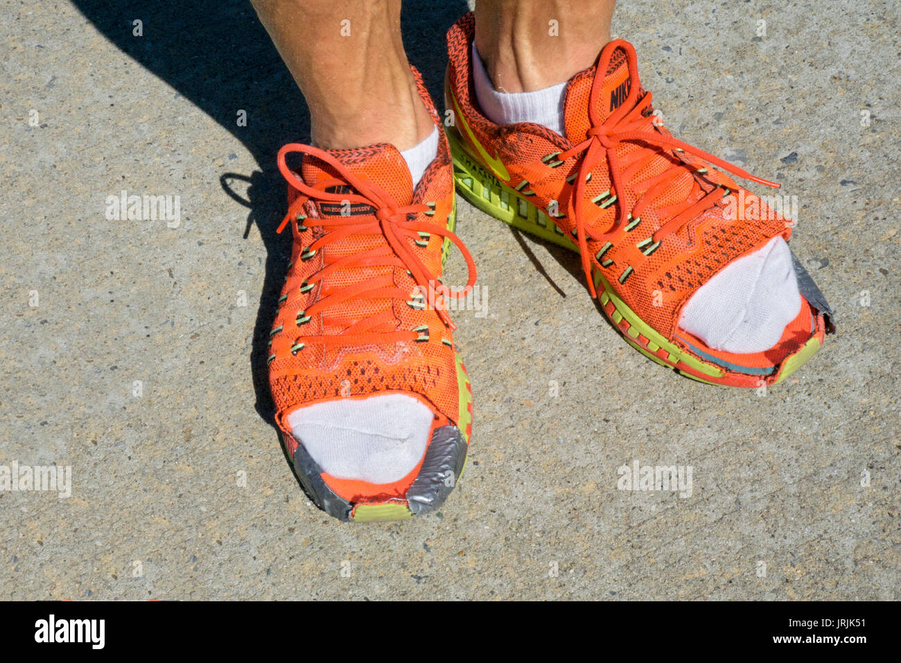 Ultra marathon runner's shoes with the