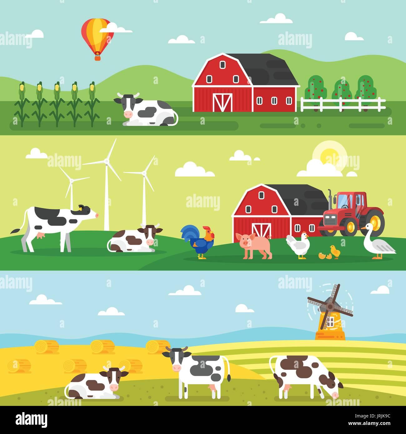 Vector flat style template for web banner. Farm, farmers, farm Stock ...