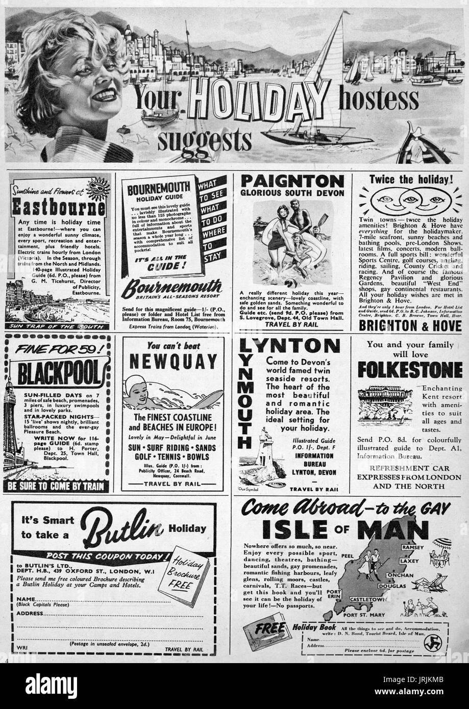 Classified Magazine Holiday Adverts January 1959 - Stock Image