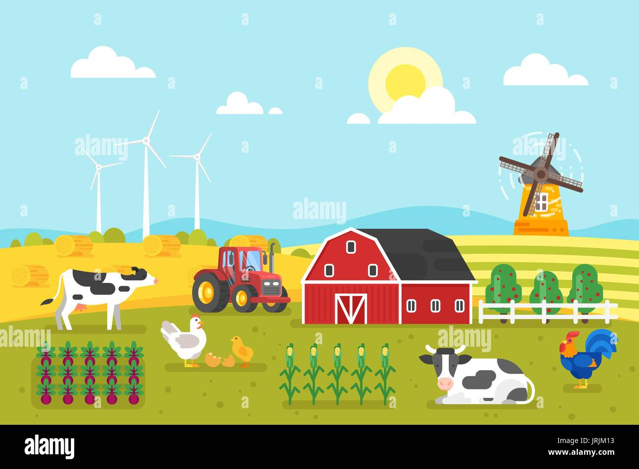 Vector flat style illustration of farm with cows and chicken. Background for poster. Wheat field in good sunny day. - Stock Vector