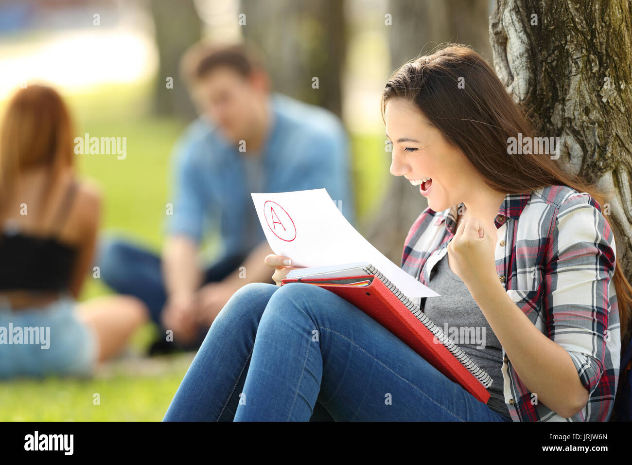 Excited student checking an approved exam sitting on the grass in a park with unfocused people in the background - Stock Image