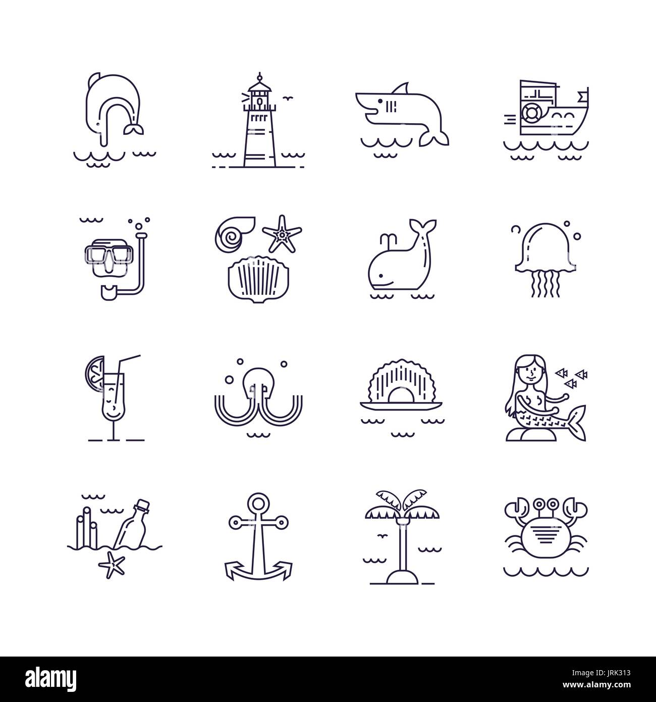 Set of sea icons - Stock Image