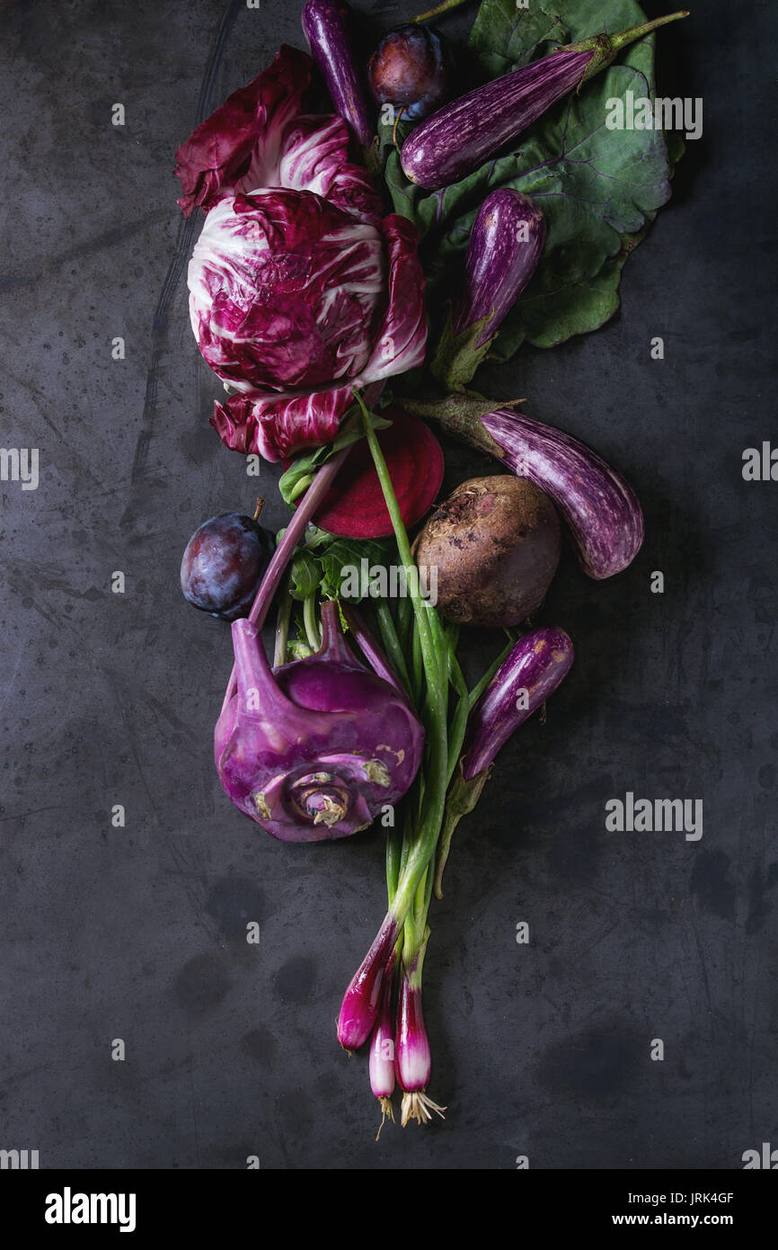 Assortment of purple vegetables - Stock Image