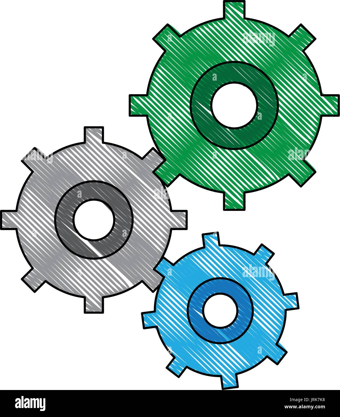 gears symbol concept of motion and mechanics connection and operation - Stock Image