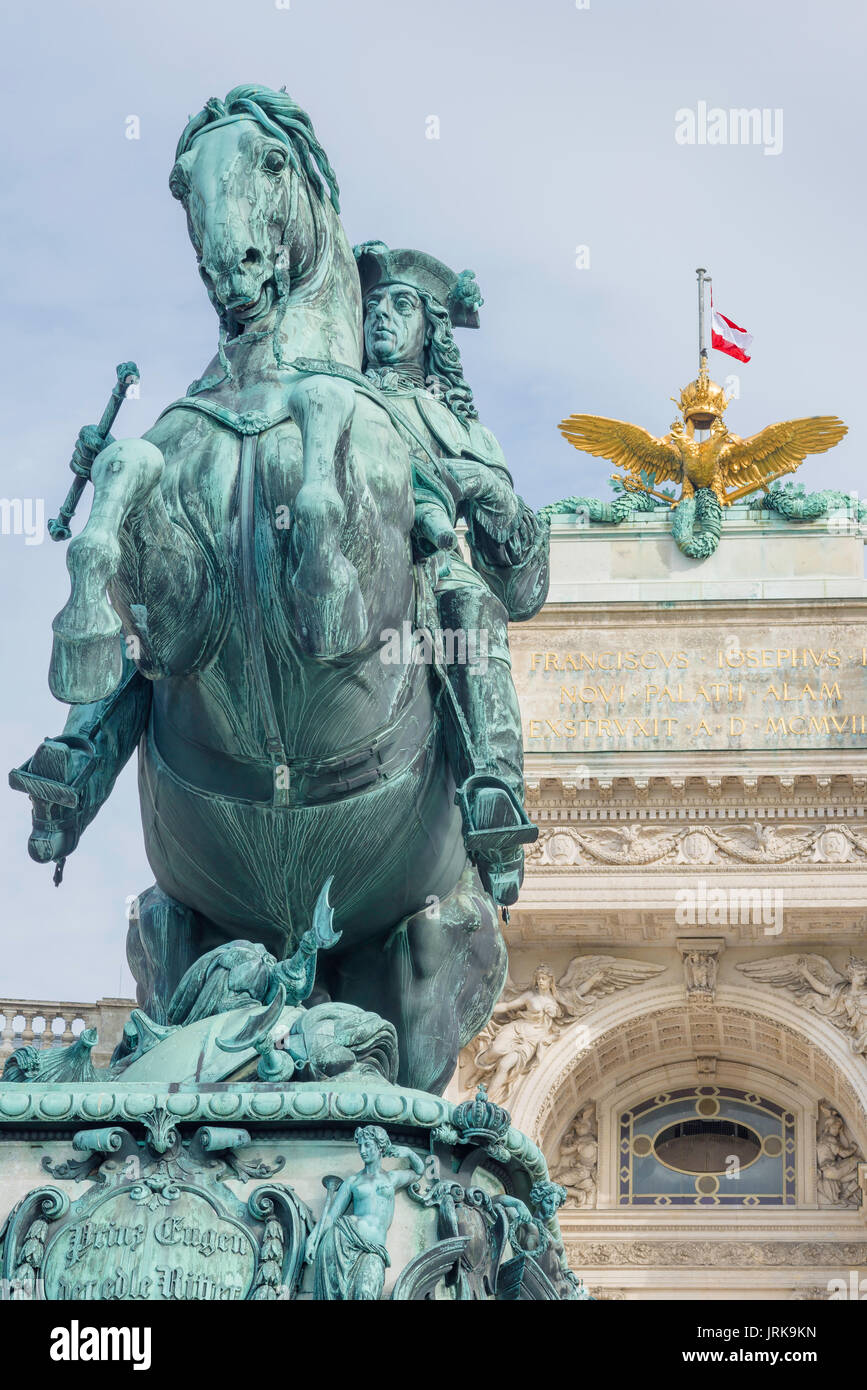 Hofburg Vienna, statue of the Habsburg general Prince Eugene in  the Heldenplatz square in the Hofburg Palace, Vienna, Austria. - Stock Image