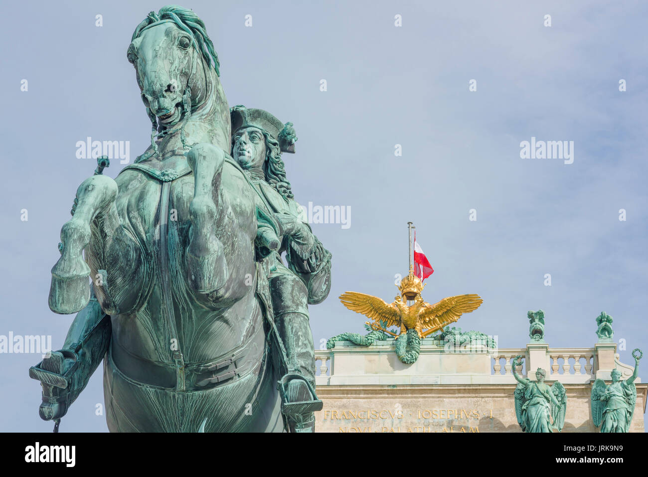 Vienna Hofburg Palace, statue of the Habsburg general Prince Eugene in  the Heldenplatz square in the Hofburg Palace, Vienna, Austria. - Stock Image