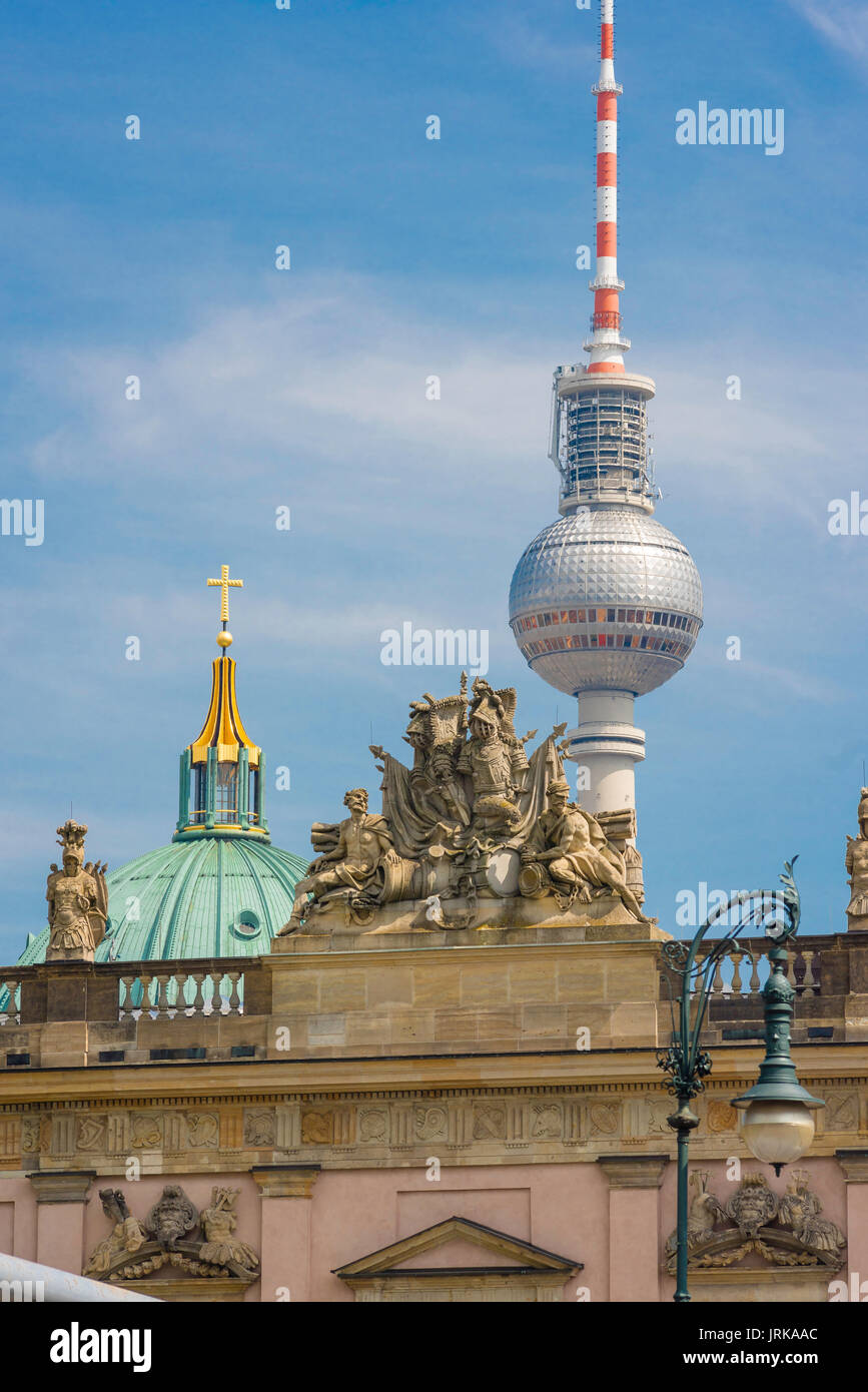 Berlin skyline, contrasting images of the Zeughaus, the Berliner Dom and the Fernsehturm TV tower, Berlin, Germany - Stock Image