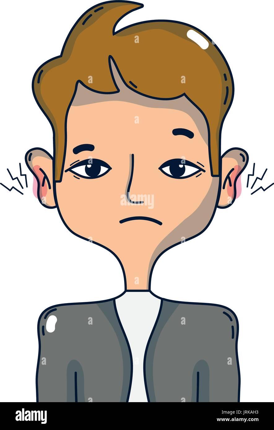 man with otitis earache illness infection - Stock Image
