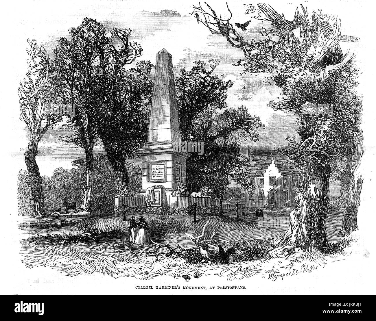 1853 engraving of Colonel Gardiner's Monument at  Bankton House, Preston Pans, East Lothian, Scotland. Stock Photo