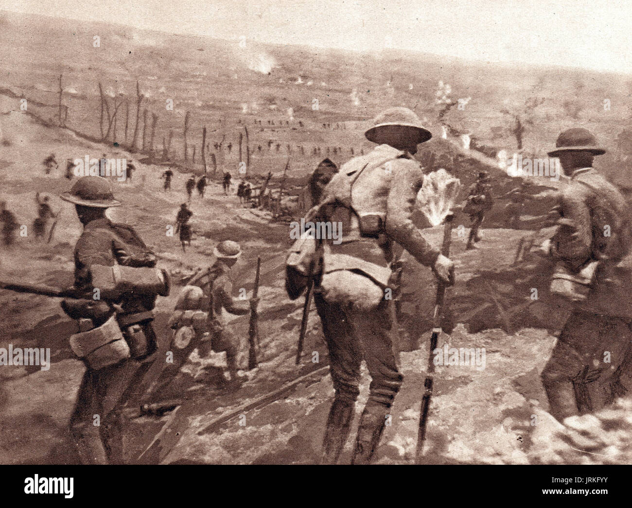British infantry advancing at Battle of Cambrai 1918 - Stock Image