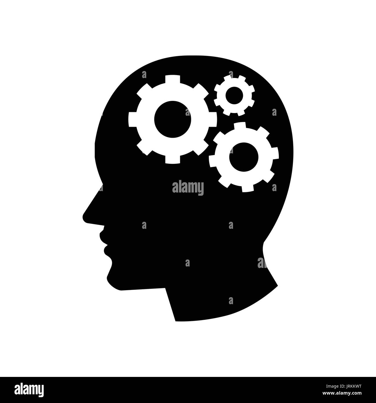 Pictograph of Gear in Head icon, iconic symbol on white background - Vector Iconic Design. - Stock Image