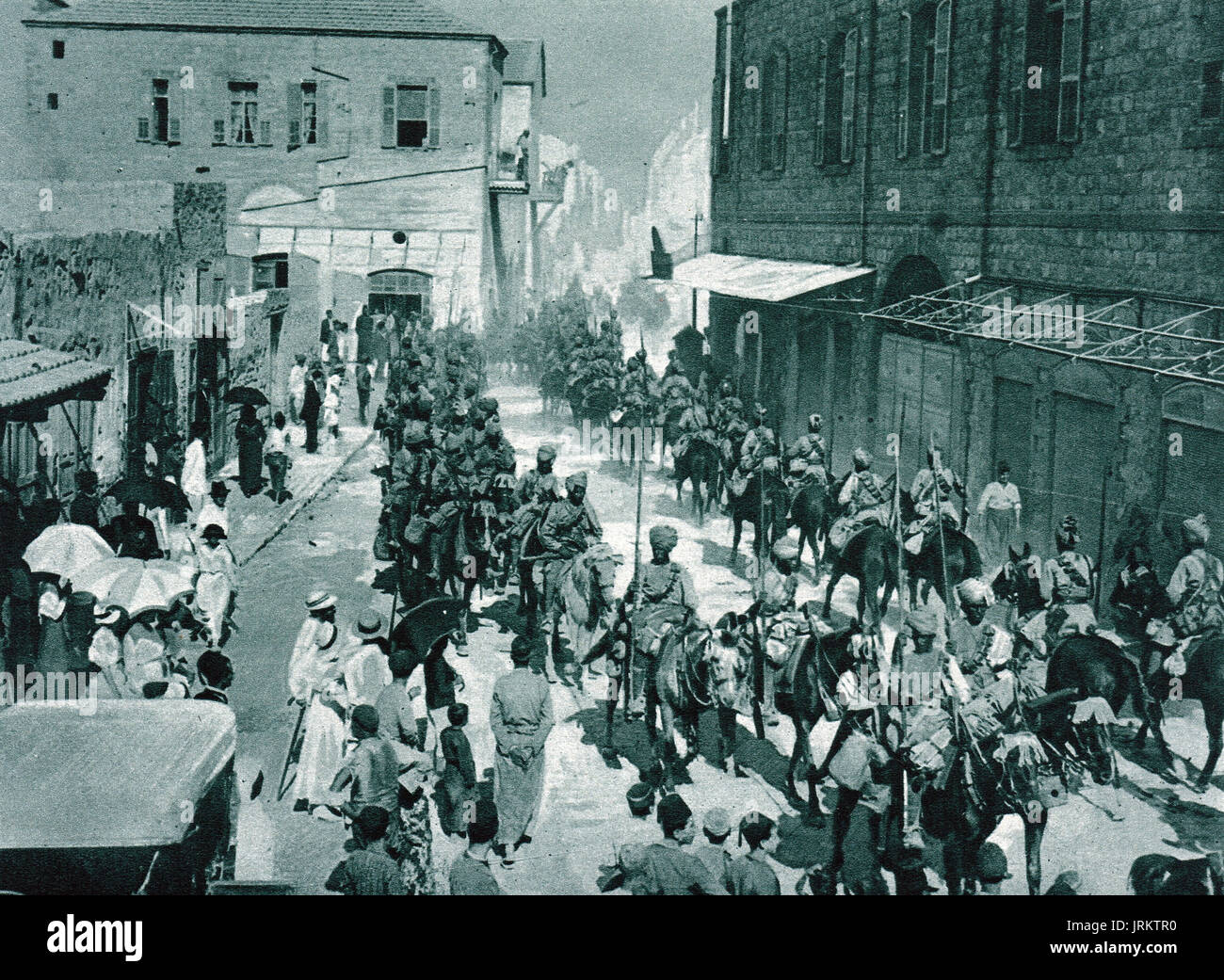 Indian Lancers take port of Haifa, WW1 - Stock Image