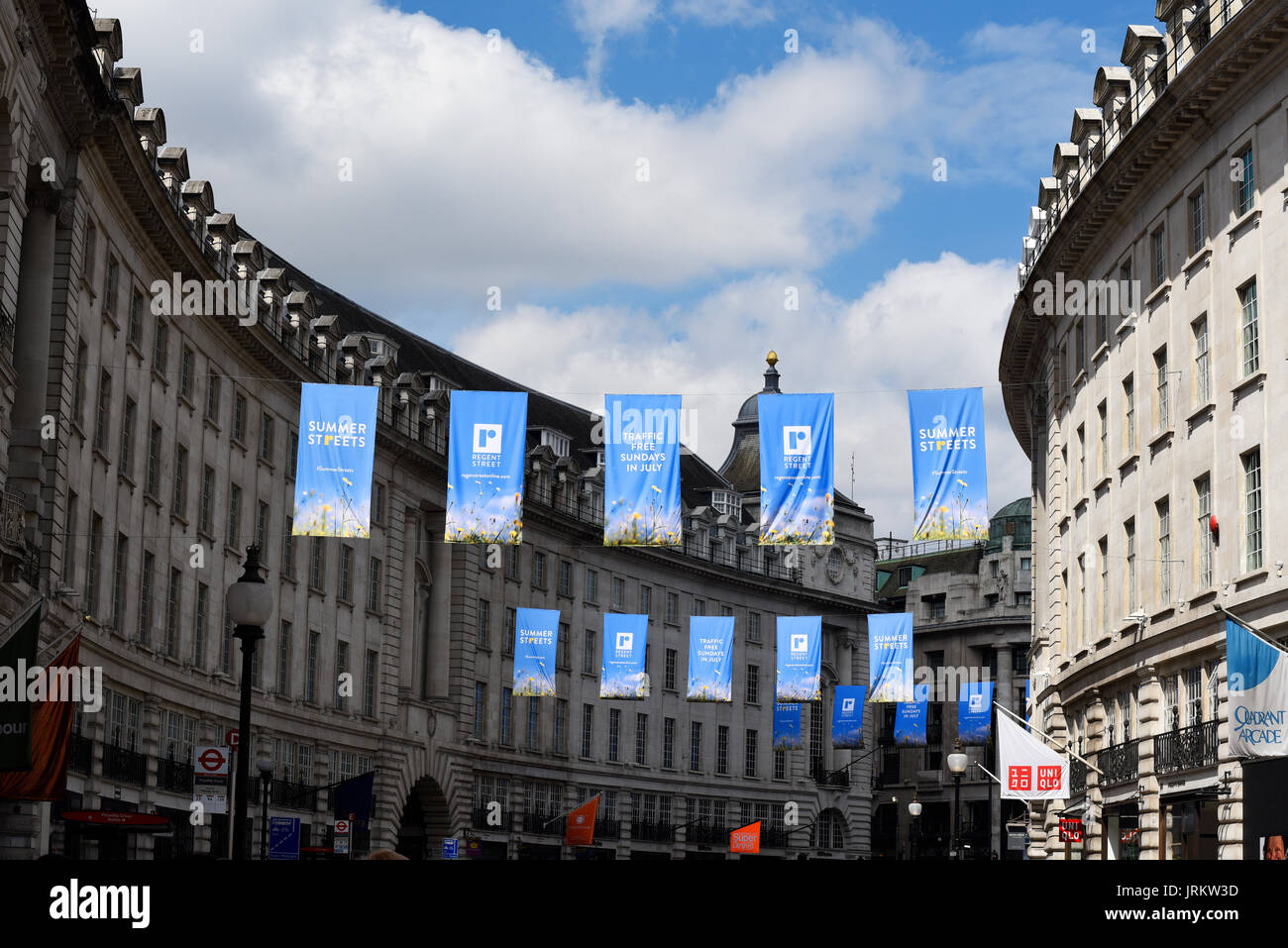 Banners along Regent Street, London announcing traffic free sundays. Space for copy - Stock Image