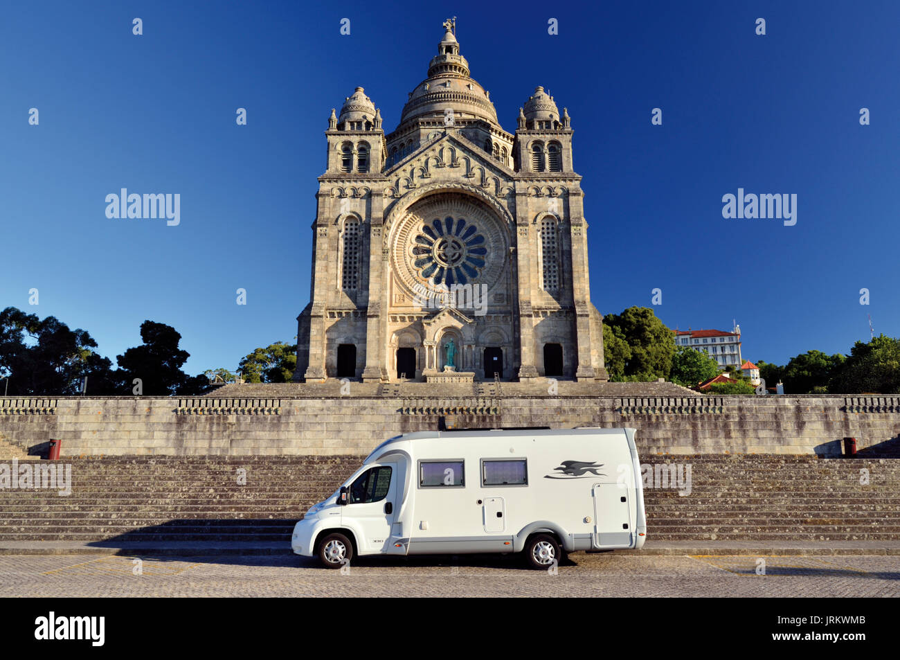 Portugal: Motorhome parking in front of famous Sanctuary Santa Luzia - Stock Image