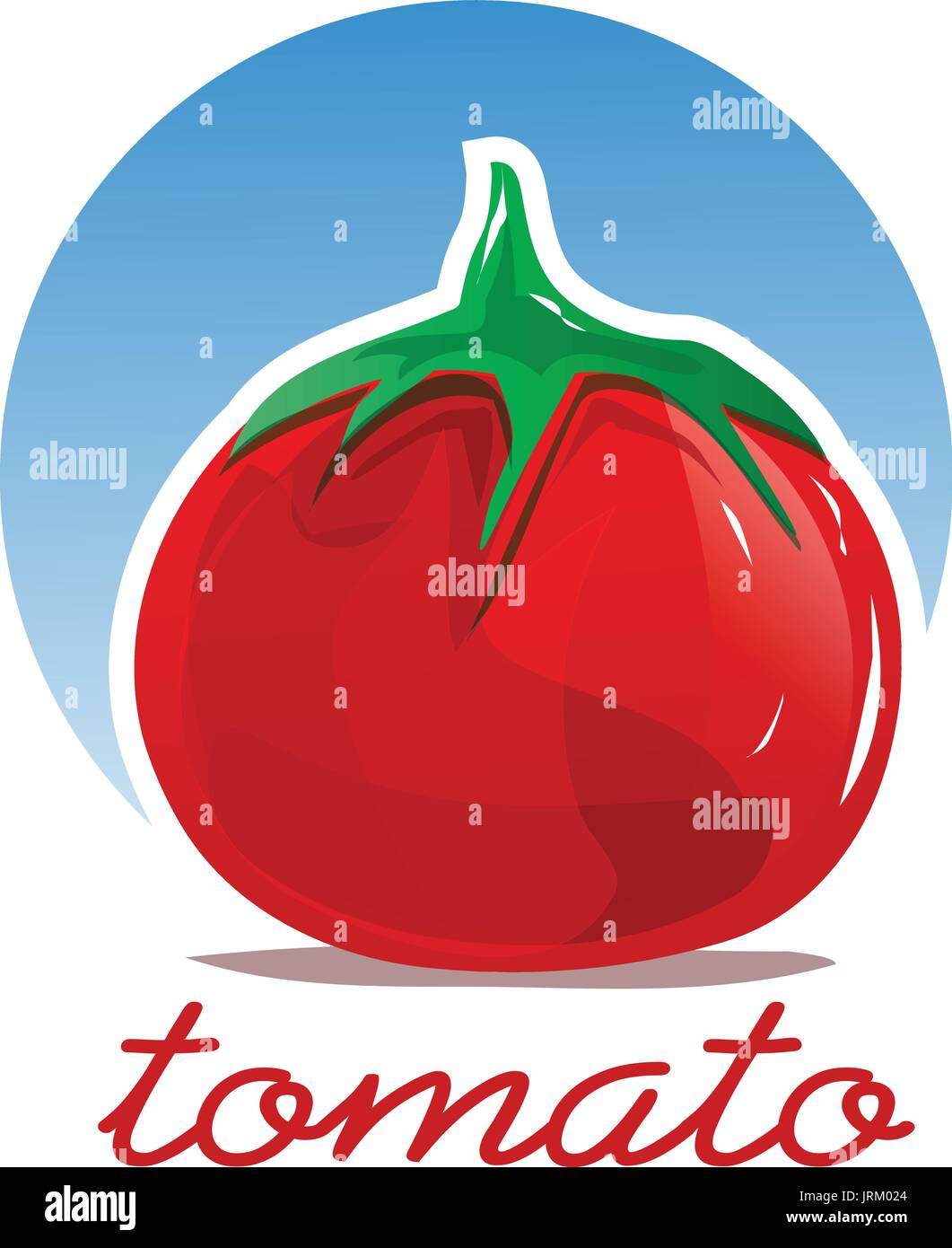 bold tomato with a circle, illustration design, isolated on