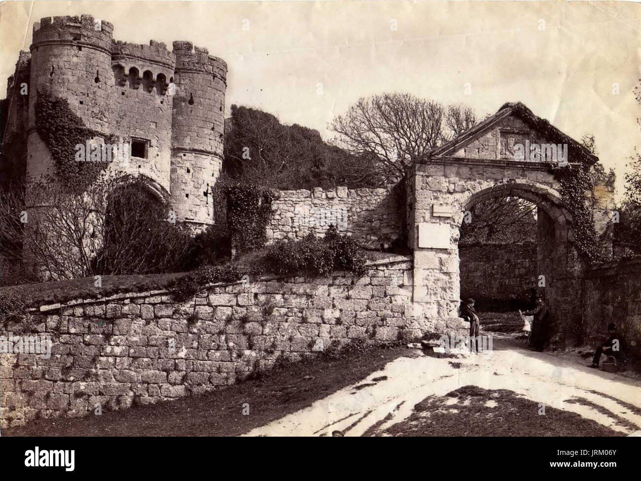 1890's Victorian Albumen topographical photograph of Carisbrooke Castle, Isle of Wight - Entrance and Gatehouse - Stock Image