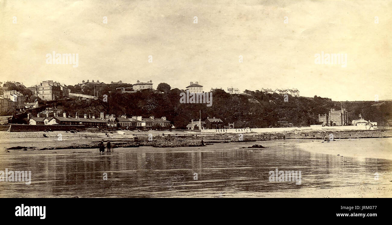 1890's Victorian Albumen topographical photograph of Douglas and Derby Castle (now demolished), Isle of Man - Stock Image