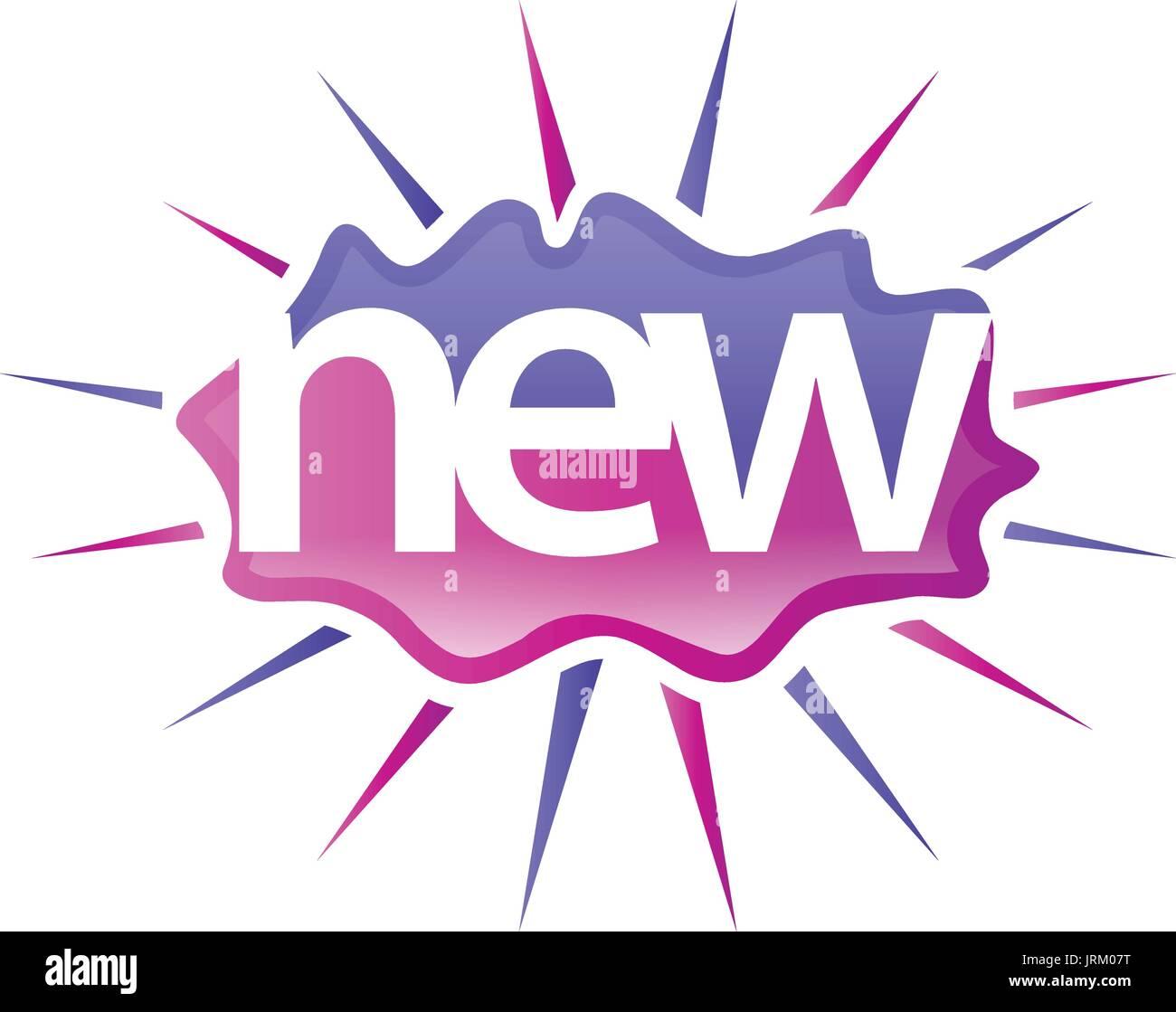 playful new word with shines, illustration design, isolated on white background - Stock Image