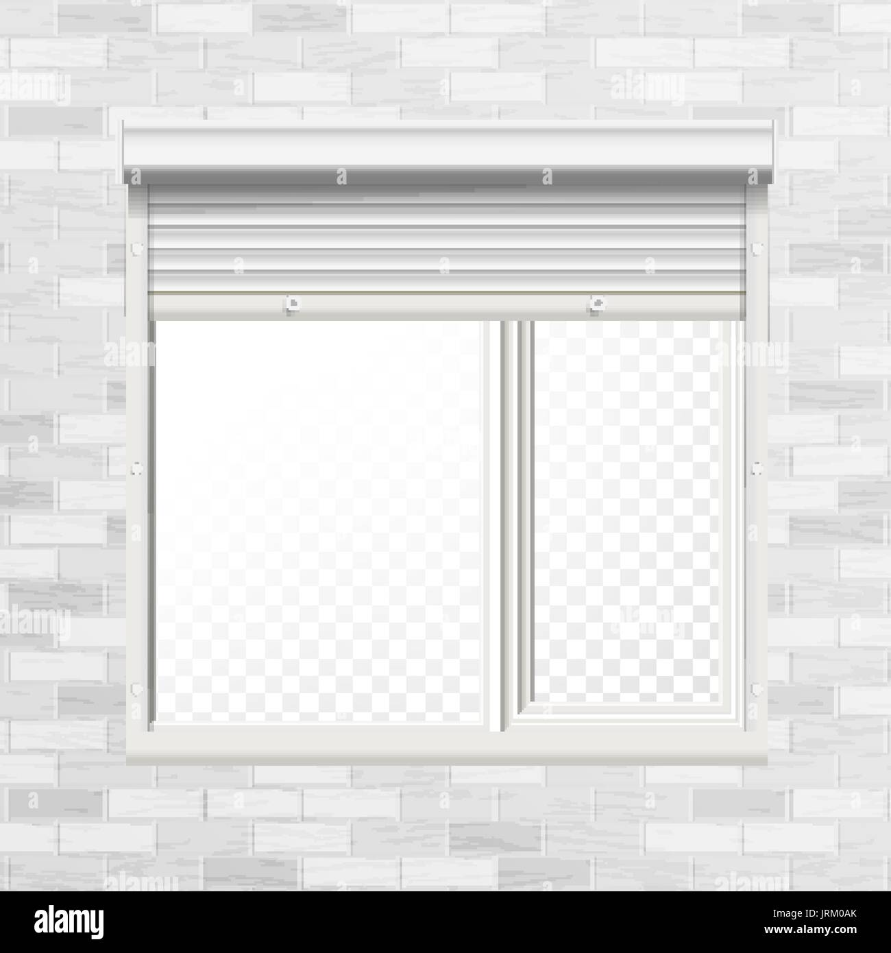 Window With Rolling Shutters Vector. Brick Wall. Front View. Illustration. - Stock Vector