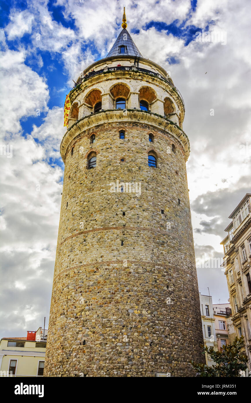 Galata Tower called Christea Turris the Tower of Christ in Latin is a medieval stone tower in the Galata quarter of Istanbul, Turkey,and one of the ci - Stock Image
