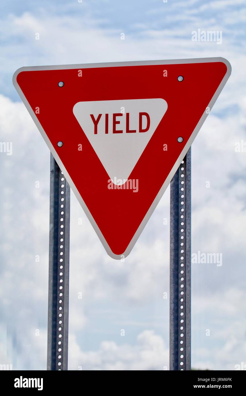 Red and White Yield Sign - Stock Image