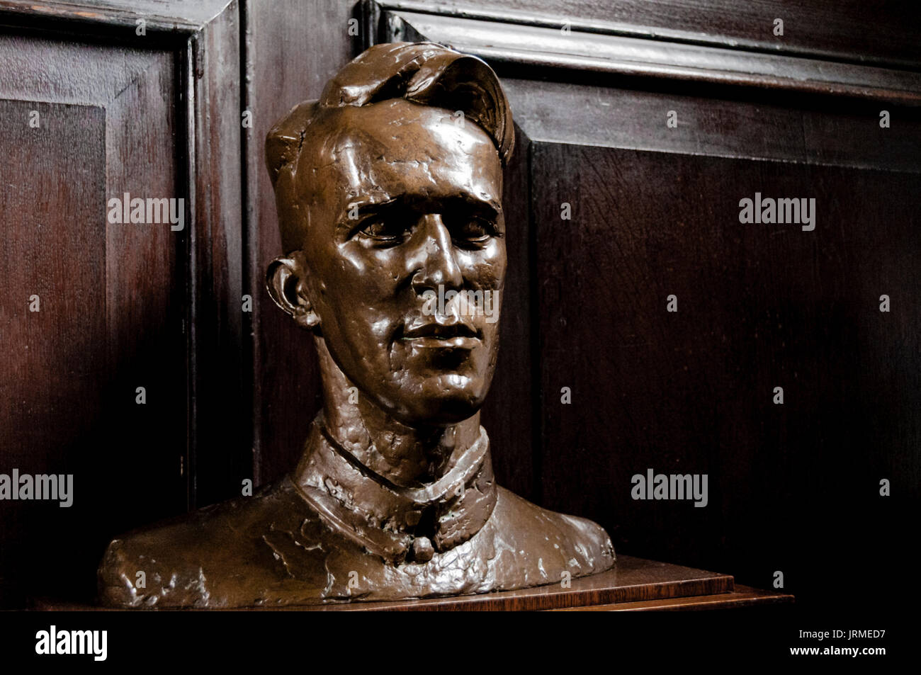 Oxford, Jesus College: Bust of T.E.Lawrence i.e. Lawrence of Arbaia - Stock Image