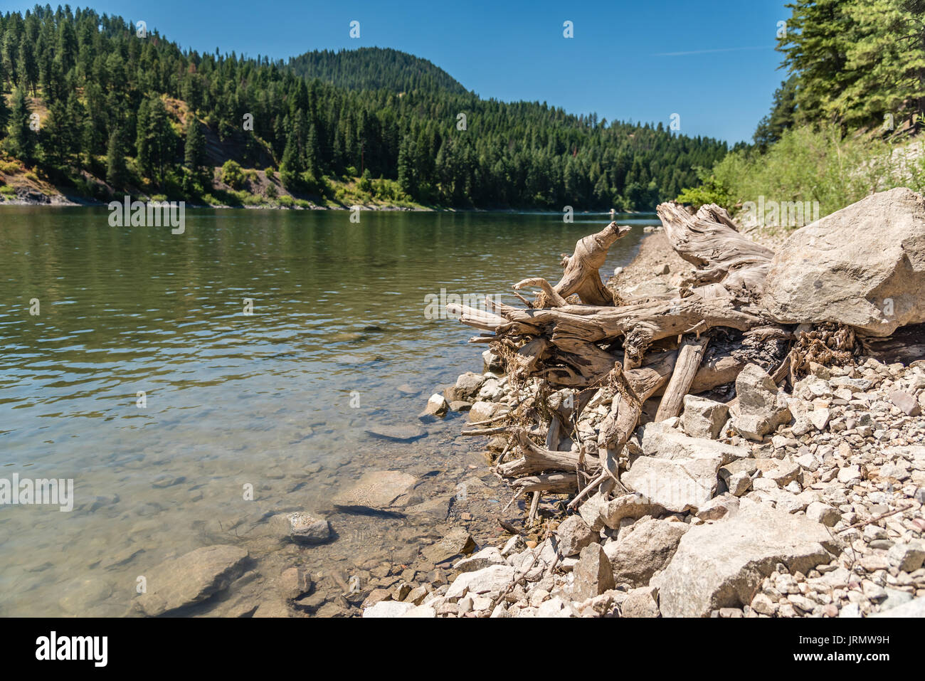 Beautiful Pend Oreille River at Pioneer Park. - Stock Image