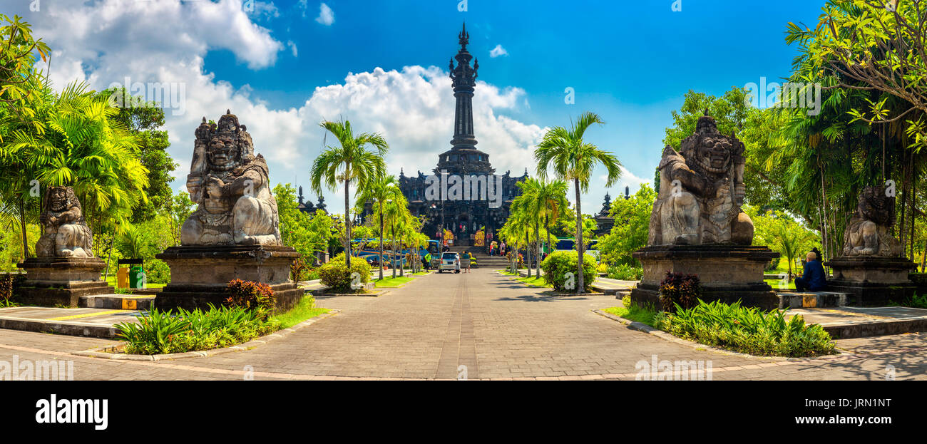 Panoramic landscape traditional balinese hindu temple Bajra Sandhi monument in Denpasar, Bali, Indonesia on background tropical nature - Stock Image