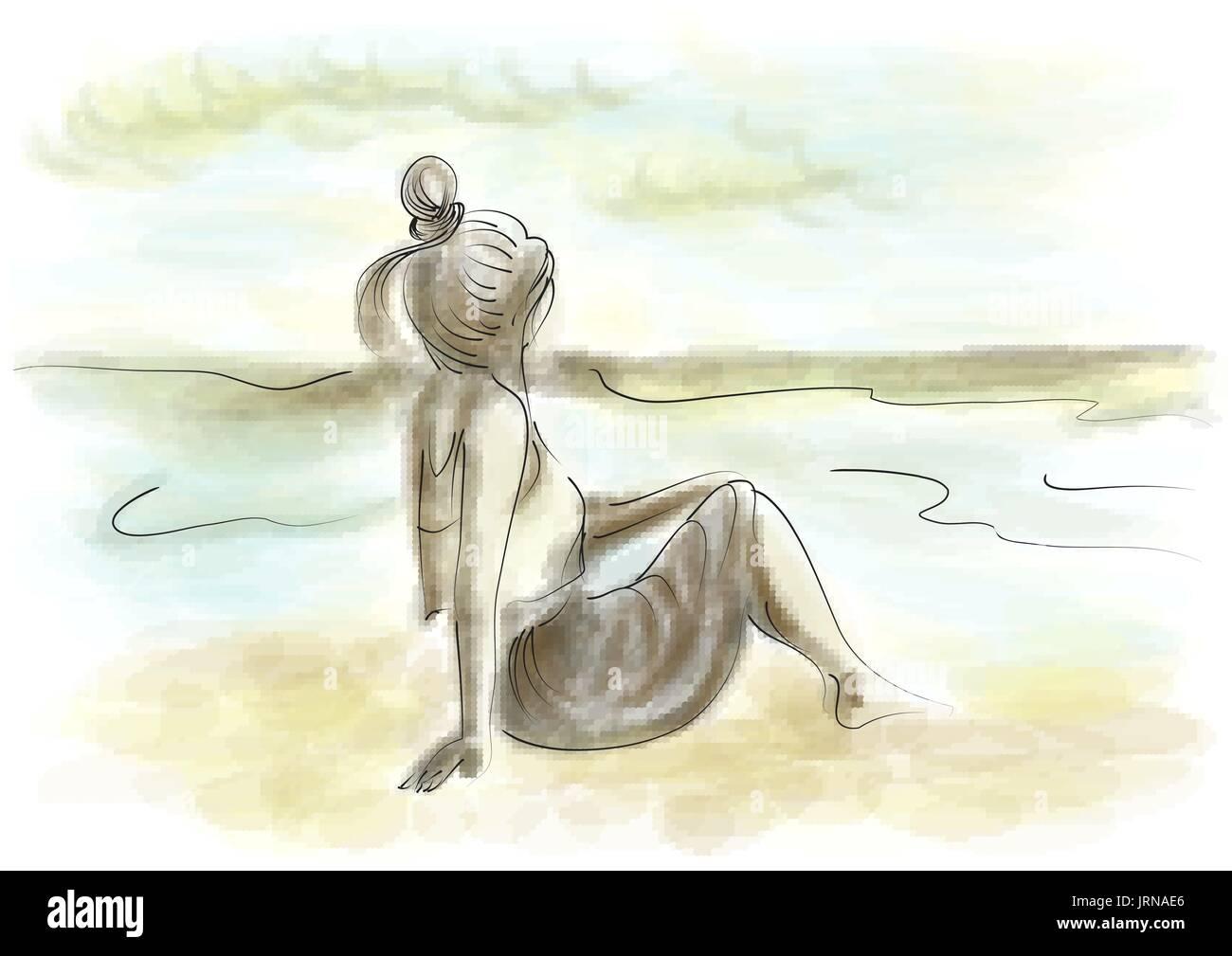 Woman on beach alone