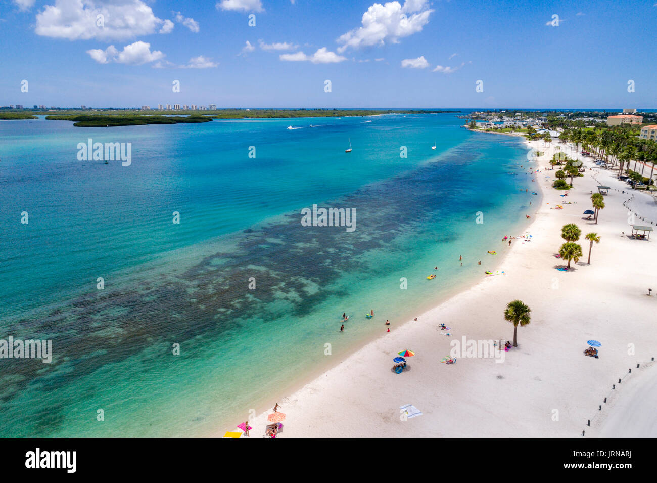 Florida Fort Ft Pierce Museum Pointe Park Indian River Highway route A1A sand aerial overhead view bird's eye above sunbathers - Stock Image