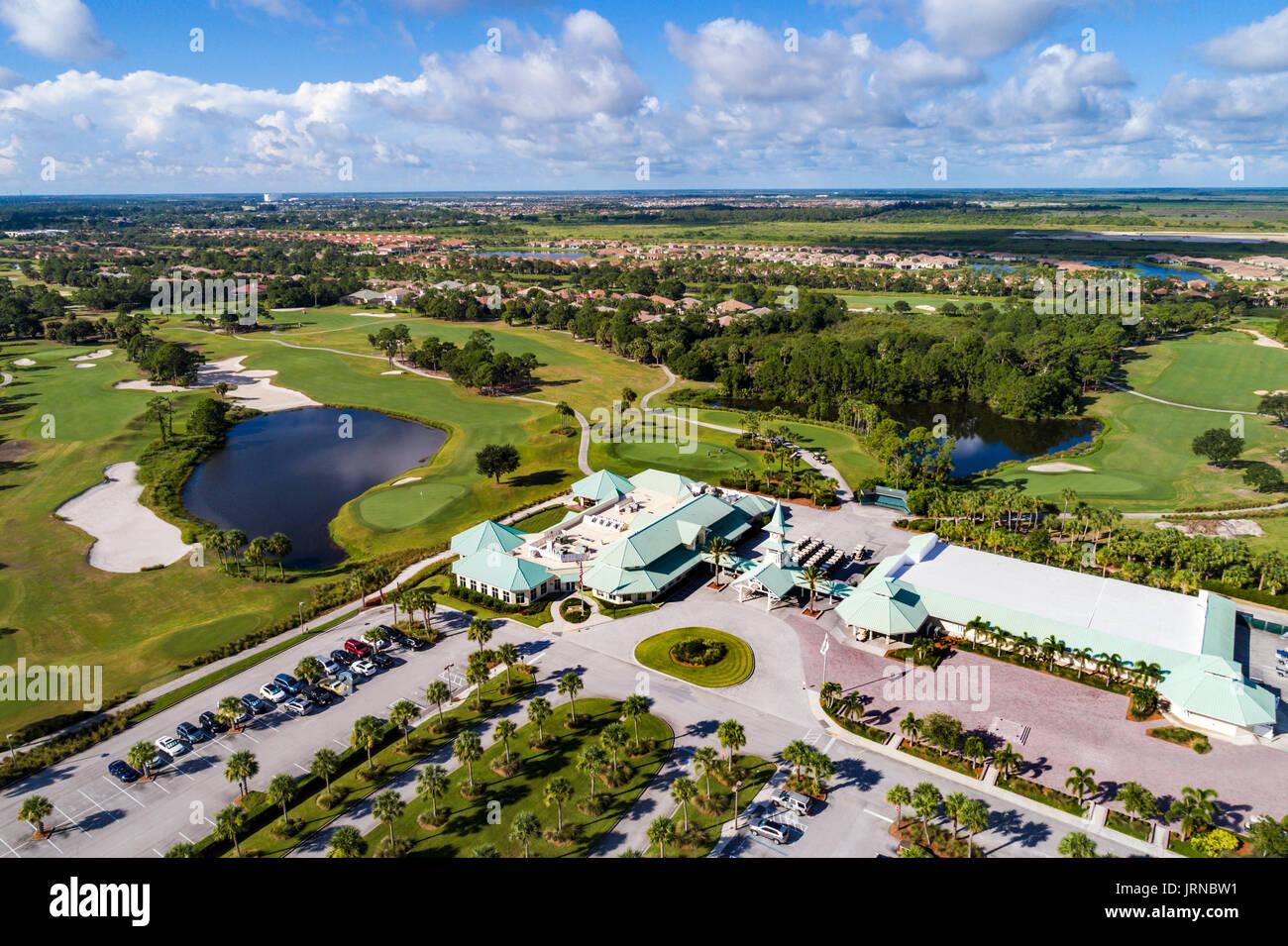Florida Port Saint St Lucie West PGA Golf Club clubhouse course aerial overhead bird's eye view above bird's eye above - Stock Image